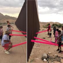 "Communities from both sides of the U.S.-Mexico border unite at the ""Teeter-Totter Wall"" project at the Anapra zone in Ciudad Juarez, Mexico on July 28, 2019. Photo courtesy of Rael San Fratello."