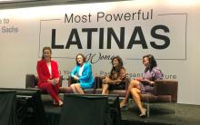 Claudia Romo Edelman, Esther Aguilera, Nina Vaca, and Erika Irish Brown participating in the State of Latina Leadership in Corporate America panel during the 2019 Most Powerful Women Summit. Photo: ALPFA Facebook.