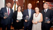 "Pedro Rivera, Karla Narvaez-Hurley, Nelson Diaz, Part De Carlo and Pedro Cortes, awardees of the first ""Annual Latino History Luncheon, hosted by AL DÍA News at the Union League Club of Philadelphia. Photo: Peter Fitzpatrick/AL DÍA"
