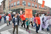 Marchers crossing South Street on their way to Center City as part of the Day without Immigrants March in Philadelphia.  Photo: Peter Fitzpatrick/AL DIA News