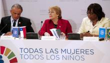 The President of Chile, Michelle Bachelet (c), together with the Director of the Pan American Health Organization, Carissa Etienne (r), and the Deputy Executive Director of the UNAIDS Program Area, Luiz Loures (l), participate in the Inauguration of the High Level Meeting Every Woman, Every Child (EWEC), on Monday, July 3, 2017, in the Palace of La Moneda, in Santiago, Chile. EFE/Mario Ruiz