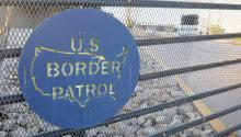 The US Border Patrol sign is seen on a fence at the border area in Nogales city in Santa Cruz County, Arizona, USA, 10 June 2014. EPA/JOSE MUNOZ