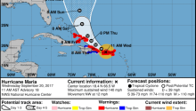 A National Hurricane Center chart showing the expected trajectory of Hurricane Maria.