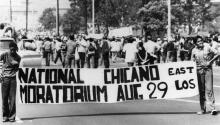 The Chicano National Moratorium brought together more than 30,000 activists, students, families and their children to march on Whittier Blvd. in East Los Angeles, August 29, 1970. | Image courtesy of the Los Angeles Public Library.