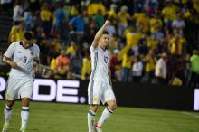 James Rodriguez after scoring a goal in last years Copa America Centenario.  Photo: Peter Fitzpatrick/AL DIA News