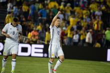 James Rodríguez tras marcar un gol en la Copa Centenario de América el año pasado. Foto: Peter Fitzpatrick/AL DÍA News