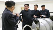 An undated photo released by the North Korean Central News Agency (KCNA), shows Kim Jong-un (3-R), supreme commander of the Korean People's Army (KPA), purportedly guiding the work for nuclear weaponization on spot, at an undisclosed location in North Korea. According to KCNA, the North Korean leader watched an H-bomb (hydrogen bomb), a multi-functional thermonuclear nuke with great destructive power, to be loaded into an intercontinental ballistic missile (ICBM). EFE/EPA/KCNA