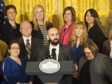 Cory Notestine, at podium receives the 2015 School Counselor of the Year in Washington, D.C. Photo: Elianne Ramos