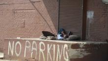 'Bedroom' for a man in Philadelphia's West Kensington community where festering structural impoverishment sparks social ills like rampant drug sales. LBW Photo