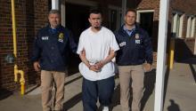 Fotografía de divulgación del 5 de mayo que muestra al salvadoreño Ingmar Guandique-Blanco, miembro de la pandilla MS-13, en el proceso de ser deportado a El Salvador, según informó hoy el Servicio deInmigracióny Control deAduanas(ICE). EFE/ICE