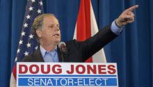 Doug Jones gives his first statements as an elected senator from Alabama. Source: TIMES.