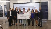 Fresh Box team members with the Franklin Prize judges, Kat Rosqueta, and Julie Franklin. Photo: Penn University