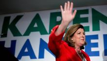 Karen Handel, the Republican candidate for the US House of Representatives, during an election party for her candidacy today, Tuesday, June 20, 2017, in Atlanta, Georgia. EFE/Branden Camp