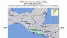 Una imagen muestra el epicentro de un sismo de magnitud 6,9 en la escala abierta de Richter, en Puerto San José,Guatemala, hoy, 22 de junio de 2017. EFE