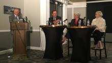 "David Thornburgh, president of the Committee of Seventy; Carol Kuniholm, CEO of Fair Districts PA; and Katherine Gehl, co-author of ""Why Competition in the Politics Industry is Failing America""."