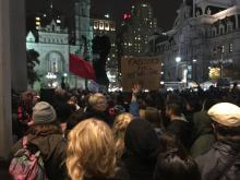 Protestors gather at Thomas Paine Plaza across from City Hall after the announcement of Donal Trump as President-elect