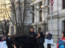 "Mijente and Juntos host 'Defy Trump"" rally outside of City Hall"