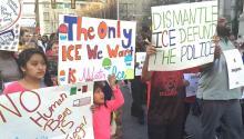 4/4 protestors march around City Hall in Center City Philadelphia.LBWPhoto