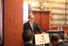 Pedro Ramos, President and CEO of the Philadelphia Foundation, speaks at the Chamber of Commerce for Greater Philadelphia's event.