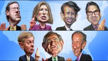 """Fox Kids Table Debate: The 7 least popular GOP candidates"" (Top row left to right: Rick Santorum, Carly Fiorina, Bobby Jindal and Rick Perry; bottom row left to right: Lindsey Graham, Jim Gilmore and George Pataki) by DonkeyHotey, Flickr."