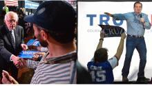 Stumping in Iowa, left, Bernie Sanders, right, Ted Cruz. Photo: EFE