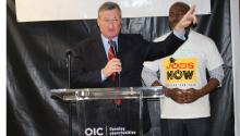 Photo: Dominique Johnson. Mayor Kenney with Dr. Kevin R. Johnson, Philadelphia OIC president and chief executive officer.