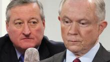 El alcalde de Filadelfia, Jim Kenney, y el fiscal general de Estados Unidos, Jeff Sessions.