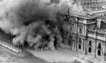 The Moneda Palace, after the first bombing, on September 11, 1973.