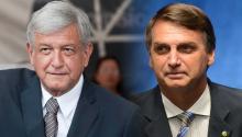 Andrés Manuel López Obrador (I), candidatopresidencial en México para las elecciones 2018, y JairBolsonaro (D), candidatopara las elecciones en Brasil.