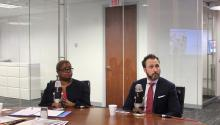 Photo: Leah Daughtry, chief executive officer of the Democratic National Convention and Kevin Washo of the Democratic National Host Committee met with the AL DÍA newsteam last Wednesday to discuss their initial plans for the convention this coming July.