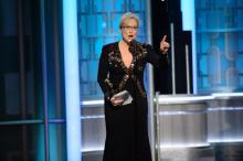 A handout photo made available by the Hollywood Foreign Press Association (HFPA) on 09 January 2017 shows Meryl Streep accepting the Cecil B. DeMille Lifetime Achievement Award during the 74th annual Golden Globe Awards ceremony at the Beverly Hilton Hotel in Beverly Hills, California, USA, 08 January 2017