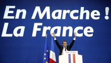 French presidential election candidate for the 'En Marche!' (Onwards!) political movement, Emmanuel Macron celebrates after the first round of the French presidential elections in Paris, France, 23 April 2017. EFE/EPA/YOAN VALAT