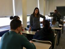 Maria Sotomayorof PICCspeaks to students.