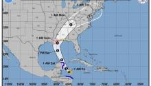 Forografía facilitada por la Agencia Nacional de Océanos y Atmósfera (NOAA) que muestra el parte meteorológico con la dirección prevista para la tormenta tropicalNate el6 de octubre de 2017. Según la NOAA,Natepodría dejar graves inundaciones en Centroamérica y no descarta la posibilidad de que se intensifique como huracán sobre la península del Yucatán. EFE/Noaa