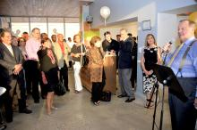 The Honorable Nelson Diaz speaks tothe audience who attended his 70th Birthday reception at Taller Puertorriqueno this past Friday. Photo: Peter Fitzpatrick/AL DIA News