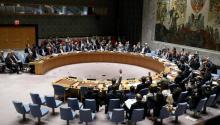 Los miembros del Consejo de Seguridad de las Naciones Unidas votan sobre un proyecto de resolución, que condena el uso de armas químicas por parte del gobierno sirio, en la sede de las Naciones Unidas en Nueva York, (Estados Unidos) hoy, miércoles 12 de abril de 2017.EFE/ANDREW GOMBERT