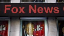 A view of a sign promoting Bill O'Reilly's show at Fox News Channels' studios following a protest by people who were calling on the network to fire O'Reilly for sexual harassment allegations against him in New York, New York, USA, 18 April 2017.  EFE/JUSTIN LANE
