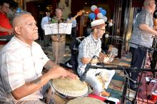 The Cintron Trio added to the excitement of Cuba Libre's tropical Carnivale during the Old City Eats Block Party. Photo: Peter Fitzpatrick/AL DIA News