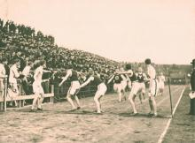The Penn Relays is celebrating their 123rd season at Franklin Field this weekend. The above photo is from a Varsity one-mile relay teams competing in 1906.  Photo: University of Pennsylvania Archives