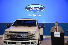 David Kelleher speaks at the Ford display at this year's auto show. Photo: Peter Fitzpatrick/AL DÍA News
