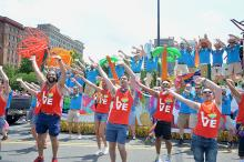 The Philadelphia Gay Men's Chorus gave a huge performance during the Pride festival in Philadelphia Sunday. Photo: Peter Fitzpatrick/AL DIA News