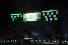 Fans pay tribute to the city of Medellin and team Atletico Nacional at the end of the first leg of the final of the Recopa Sudamericana in the Arena Condá de Chapecó in Brazil. Photo: EFE