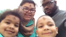South Jersey/Philly Latina blogger Ruby Wright and her family in an Ash Wednesday selfie. Wright's websiteGrowing Up Blackxicancelebrates Black and Mexican family life, traditions and community.(Photo: RubyDW, Flickr, CC by 2.0)