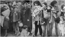 Left) Jewish women and children from Subcarpathian Rus await selection at the Auschwitz-Birkenau ramp in May 1944. (Right) Central American immigrants wait to be transferred to a United States border patrol processing center after crossing the Rio Grande from Mexico to Texas. Photography: John Moore / Getty Images