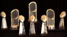 Several Superbowl and World Series trophies
