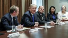 US President Donald Trump (2L) is joined by New Jersey Democrat Rep. Josh Gottheimer (L) and New York Republican Rep. Tom Reed (3rd R) at a bipartisan meeting of the US Congress convened to discuss the tax reform on Wednesday, September 13, 2017, at the White House in Washington (USA). EFE / SHAWN THEW