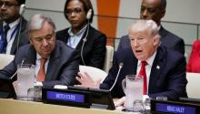 US President Donald J. Trump (d) and UN Secretary General António Guterres (i) attend a meeting on the need for reforms in the functioning of the UN, on the eve of the celebration of its General Assembly, at the UN headquarters in New York, USA, on September 18, 2017. EFE / Justin Lane