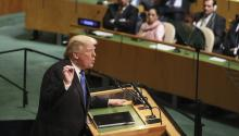 US President Donald J. Trump addresses the UN General Assembly at its US headquarters on September 19, 2017. EFE / Andrew Gombert
