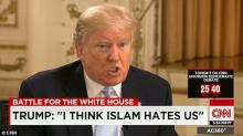 "During an interview with CNN on Wednesday, March 9, 2016, Trump said that ""Islam hates us"" and that the invasion of Iraq was the ""worst decision in the history of the United States"" and turned the Arab nation into the ""Harvard of terrorism. "" Source: CNN."