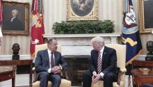 "Stock Photography (10/5/2017), showing US President Donald Trump (r), with Russian Foreign Minister Sergey Lavrov (l) during his meeting in Washington, DC. The White House today called the leak published by the Washington Post that Trump revealed secret information about the Islamic State (EI) to Sergey Lavrov as ""false"". EFE / RUSSIAN MINISTRY OF EXTERIORS"